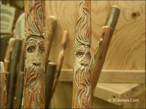 Ozark Folk Center wood carving walking sticks